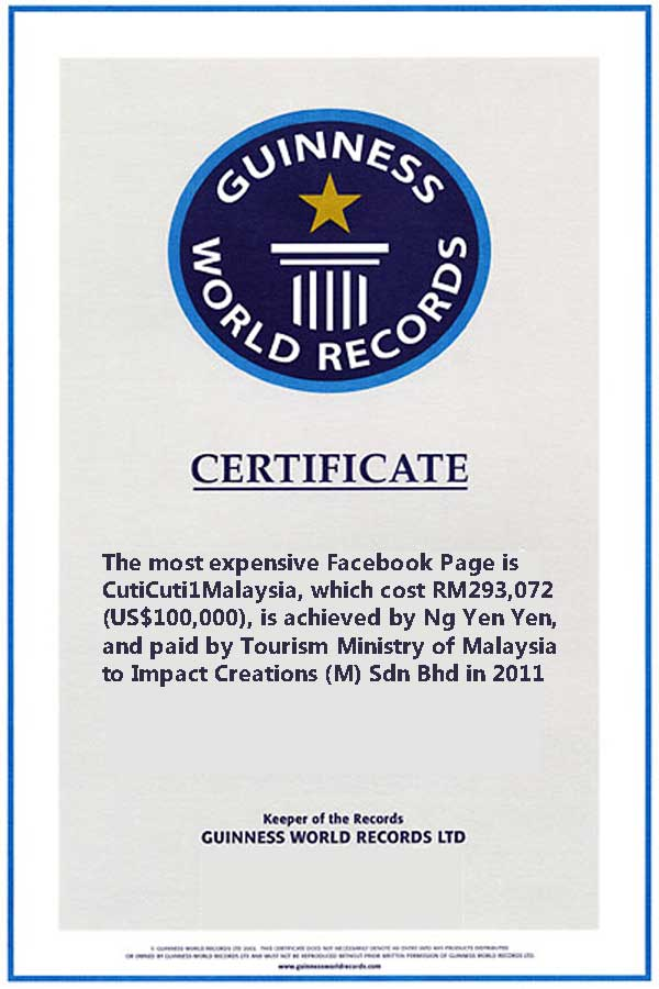 Guinness World Records For The Most Expensive Facebook Page is awarded to Dr. Ng Yen Yen